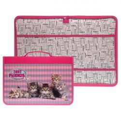 Папка-пенал для труда с ручкой 340*235* ПТР 5 Пять котят, ткань/ламинат