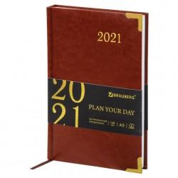 """Ежедневник датированный 2022 г. A5 168л кожзам """"Senator"""", коричневый"""