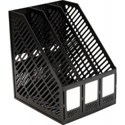 Лоток вертикальный 3 отд. сетчатый, сборный, чёрный CLASSIC