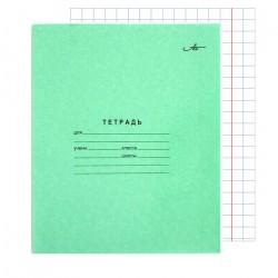 Тетрадь 12 листов крупная клетка офсет, зелёная, АЦБК