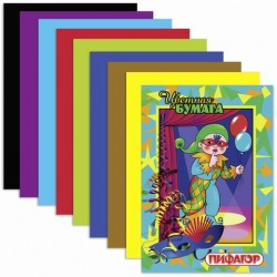 Цветная бумага А4 8цв 16л односторонняя на скобе ''Гномик на карнавале''