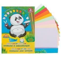 """Цветная бумага А4 10цв 10л двухсторонняя в папке """"Панда"""", для аппликаций"""