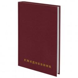 Ежедневник недатированный А5 128л твёрдая обложка, бумвинил бордовый, BRAUBERG