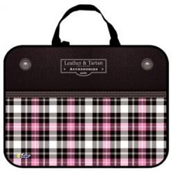 Папка-сумка 350*265*80 ПМД 4-20 Шотландка розовая, ткань, Оникс