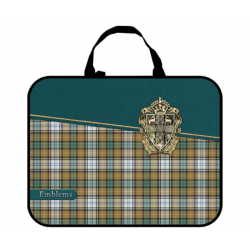 Папка-сумка 350*265*80 ПМД 4-20 Шотландка зелёная, ткань, Оникс