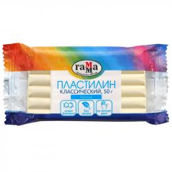 """Пластилин 50 г """"Классический"""" белый, ГАММА"""