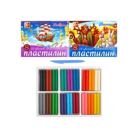 """01546 Пластилин 18 цв 315 г """"Фантазия"""" восковой, Луч"""
