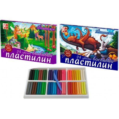 """01553 Пластилин 24 цв 420 г """"Фантазия"""" восковой, Луч"""