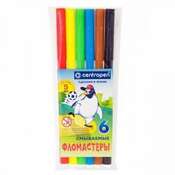 """Фломастеры 6 цв """"Пингвины"""" смываемые, пласт. упаковка, CENTROPEN"""