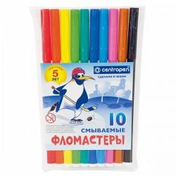 """Фломастеры 10 цв """"Пингвины"""" смываемые, пласт. упаковка, CENTROPEN"""