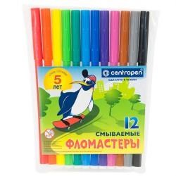 """Фломастеры 12 цв """"Пингвины"""" смываемые, пласт. упаковка, CENTROPEN"""