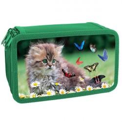 Пенал 3 отделения 190*110 ПКК 12-5 Котёнок с бабочками