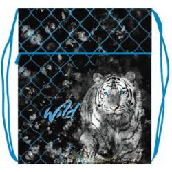 Мешок для обуви МО-27-4 (410*490 мм) 1 отд. с карманом и сеточкой, Белый тигр