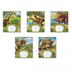 Тетрадь 12 листов клетка, цветная обложка ''Эра динозавров'', ассорти, ERICH KRAUSE