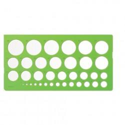 Трафарет окружностей, 36 элементов диаметром от 1 до 36 мм, зелёный