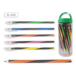 Ручка шариковая синяя, цветной корпус, ассорти