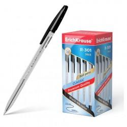 "Ручка шариковая 1.0 мм ""R-301 CLASSIC STICK"" чёрная, корпус прозрачный, ERICH KRAUSE"