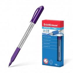 """Ручка шариковая 0.6 мм """"U-19"""" фиолетовая, корпус трехгранный с рез гриппом, ERICH KRAUSE"""