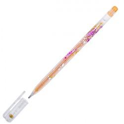 Ручка гелиевая 1.0 мм CROWN золотая с блёстками