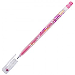 Ручка гелиевая 1.0 мм CROWN красная с блёстками