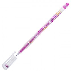 Ручка гелиевая 1.0 мм CROWN розовая с блёстками