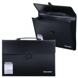 Портфель пластиковый 390*260*40 мм, 3 отделения, чёрный