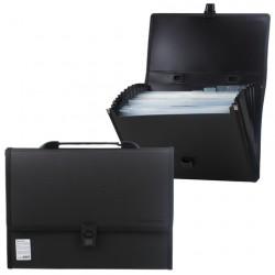Портфель пластиковый А4 330*240*25 мм, 13 отделений, чёрный