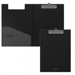 Папка-планшет с прижимом А4 пластиковая с крышкой чёрная, Erich Krause