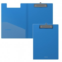 Папка-планшет с прижимом А4 пластиковая с крышкой  синяя, Erich Krause