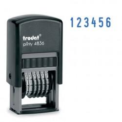 Нумератор 6-разр, оттиск 15*3,8 мм синий, 4836