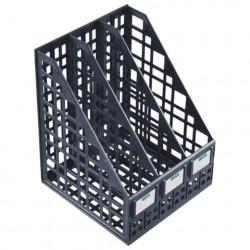 Лоток вертикальный 3 отделения, ширина 240 мм, сетчатый, сборный, чёрный