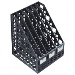 Лоток вертикальный 6 отделений, ширина 240 мм, сетчатый, сборный, чёрный