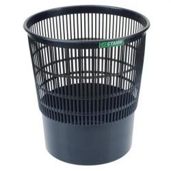Корзина для мусора 18л пластиковая круглая сетчатая, чёрная