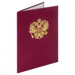 Папка адресная А4 бумвинил с гербом России, бордовая