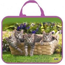 Папка-сумка 350*265*45 ПМД 4-20 Котята на поляне, ткань, Оникс
